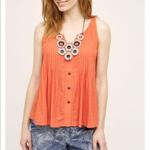 Anthropologie Maeve swing pleated tank top
